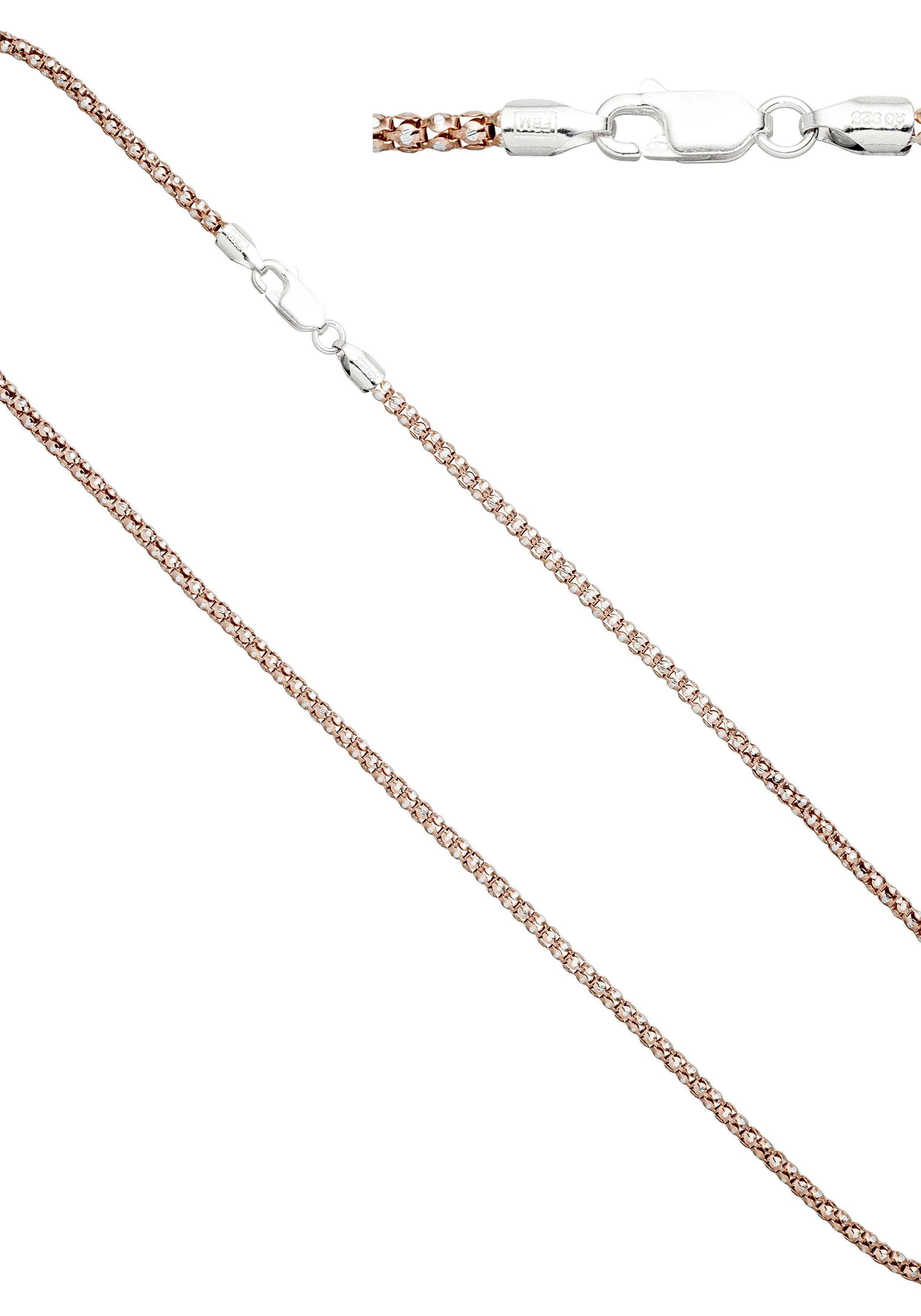 JOBO Kette ohne Anhänger 925 Silber roségold vergoldet bicolor 45 cm 2,8 mm