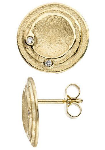 JOBO Paar Ohrstecker, rund 585 Gold mit 4 Diamanten