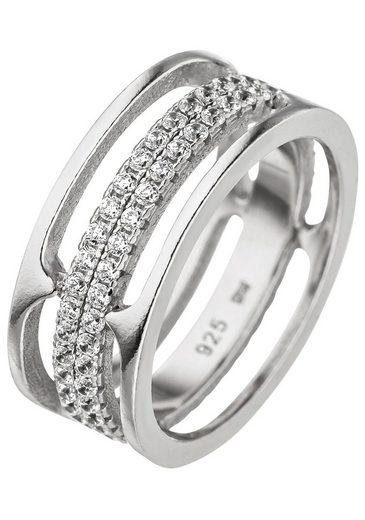 JOBO Silberring, breit 925 Silber mit Zirkonia