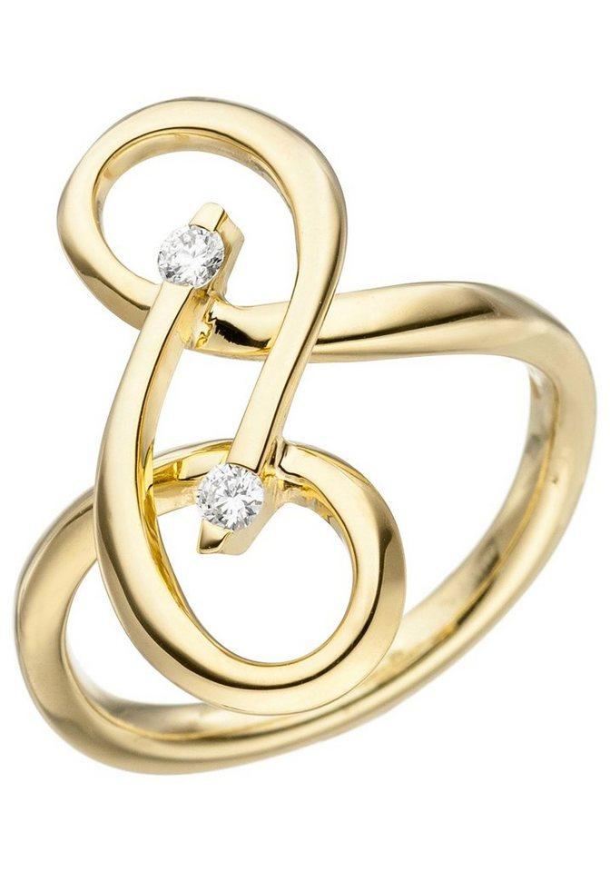 jobo diamantring verschlungen 585 gold mit 2 diamanten online kaufen otto. Black Bedroom Furniture Sets. Home Design Ideas