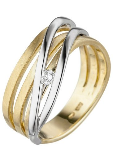 JOBO Diamantring, 585 Gold bicolor mit Diamant