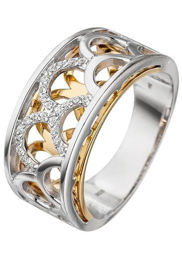 JOBO Fingerring, breit 925 Silber bicolor vergoldet mit Zirkonia