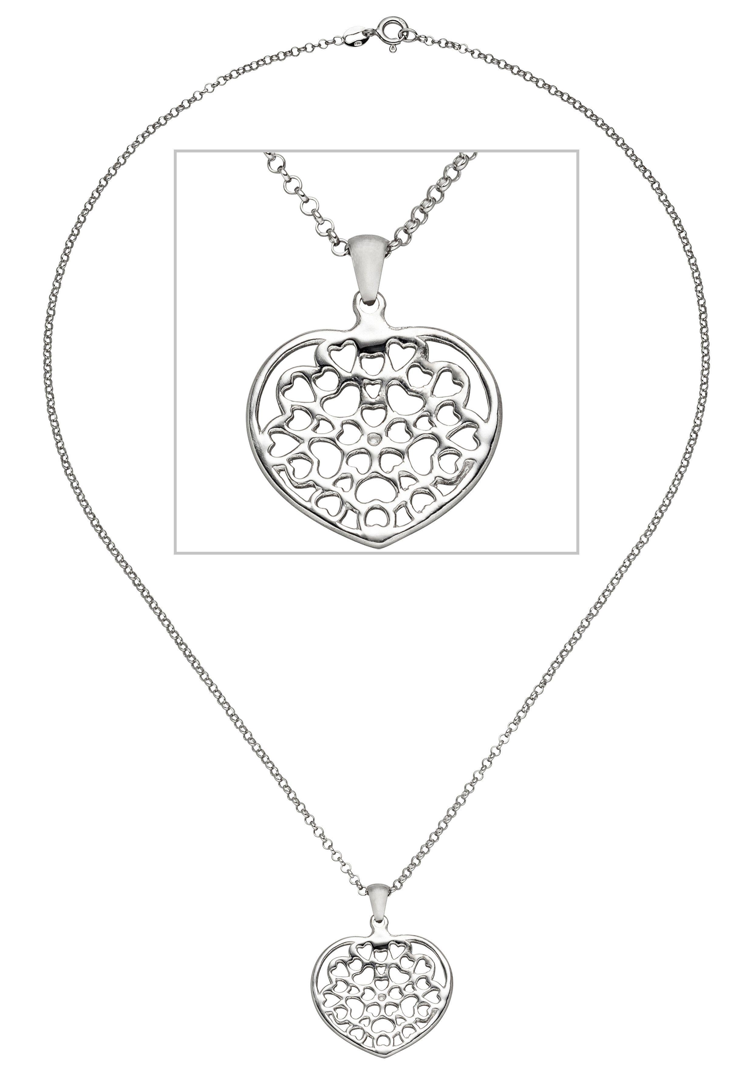 JOBO Kette mit Anhänger Herz 925 Silber 45 cm