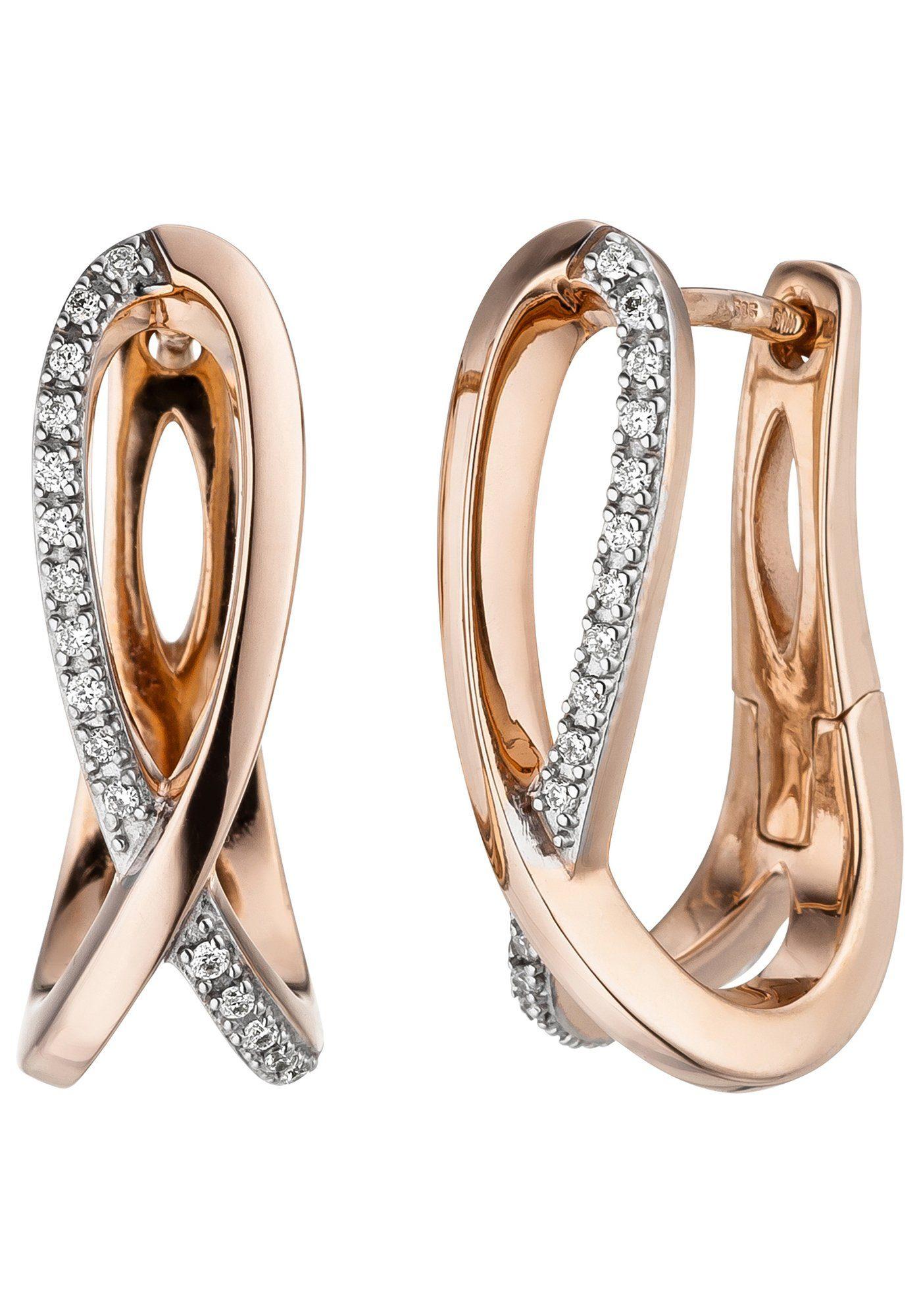 JOBO Paar Creolen 585 Roségold mit 34 Diamanten