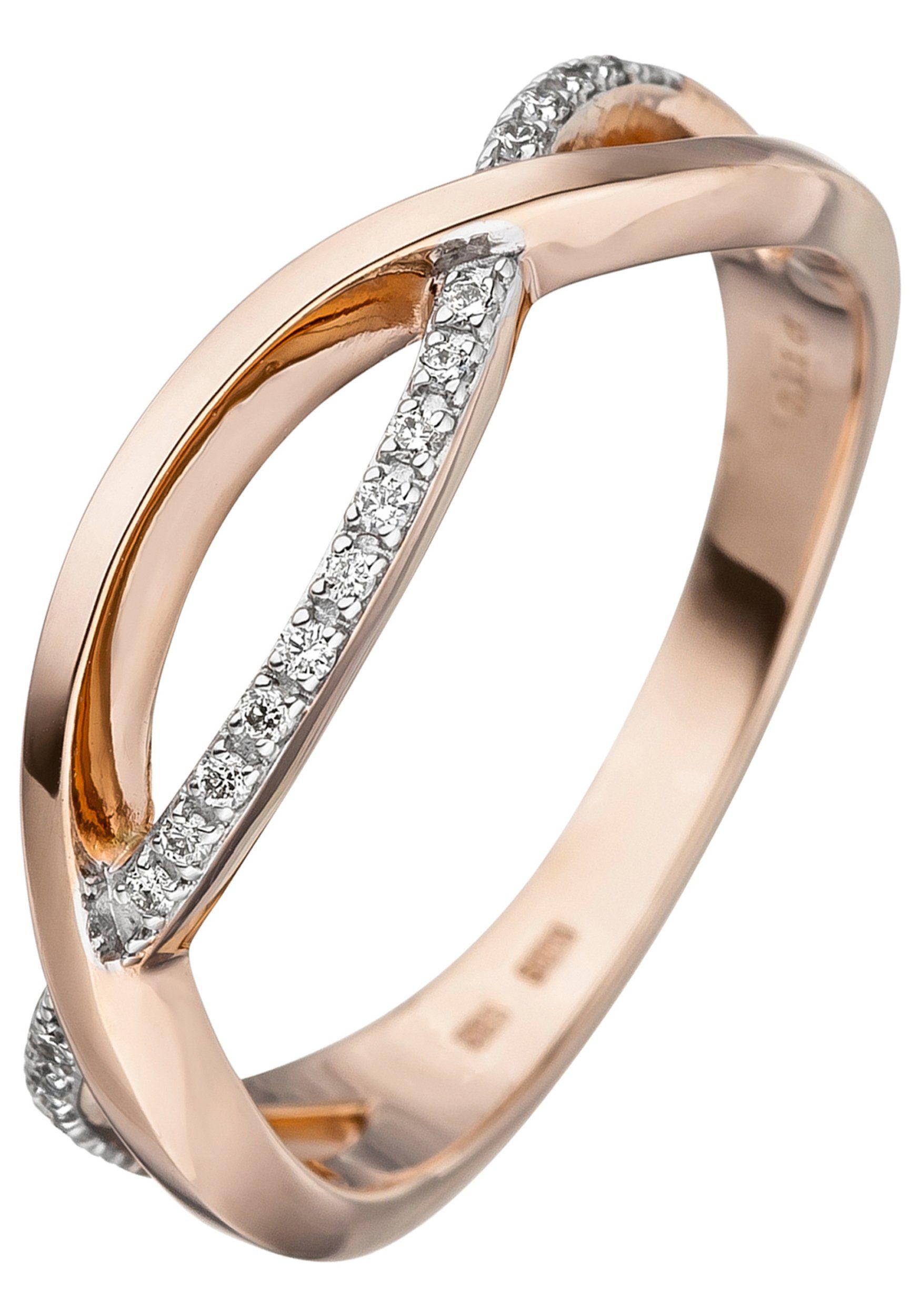 JOBO Diamantring 585 Roségold bicolor mit 20 Diamanten