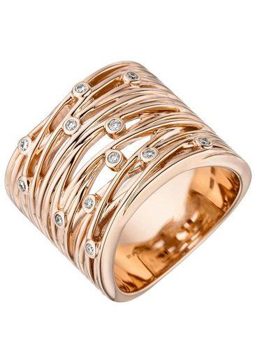 JOBO Diamantring, breit 585 Roségold mit 12 Diamanten