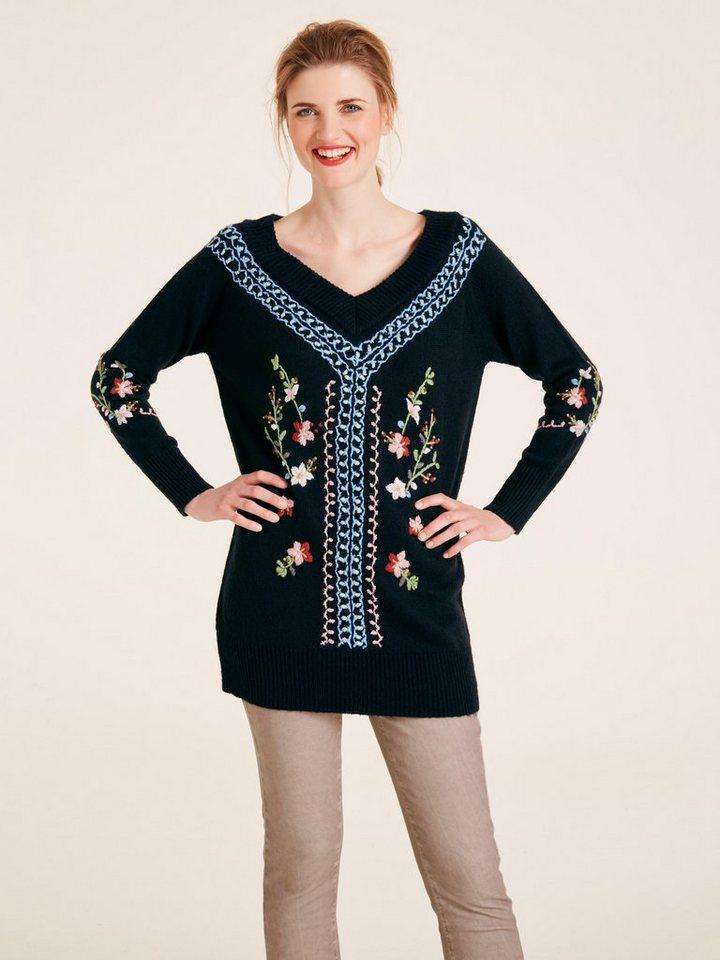 heine CASUAL Longpullover mit Stickereien   Bekleidung > Pullover > Longpullover   Schwarz   heine