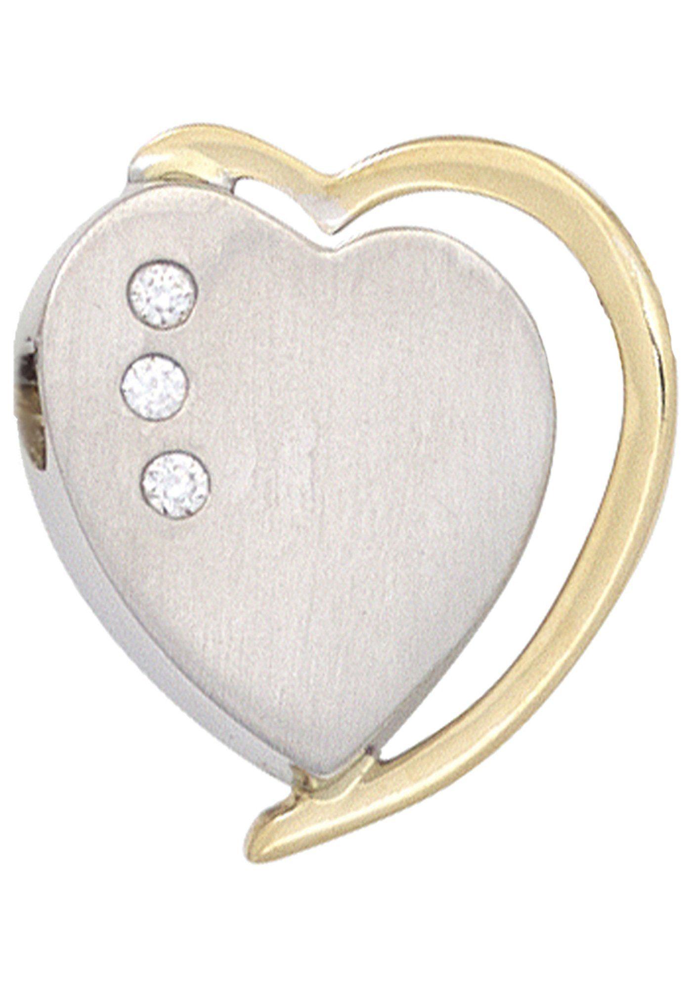 JOBO Herzanhänger »Herz« 585 Gold bicolor mit 3 Diamanten