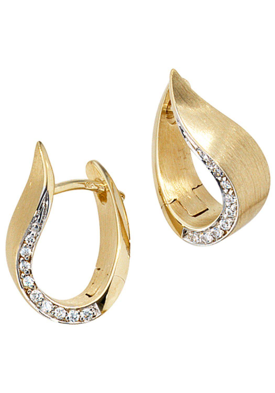 JOBO Paar Creolen 585 Gold bicolor mit 18 Diamanten