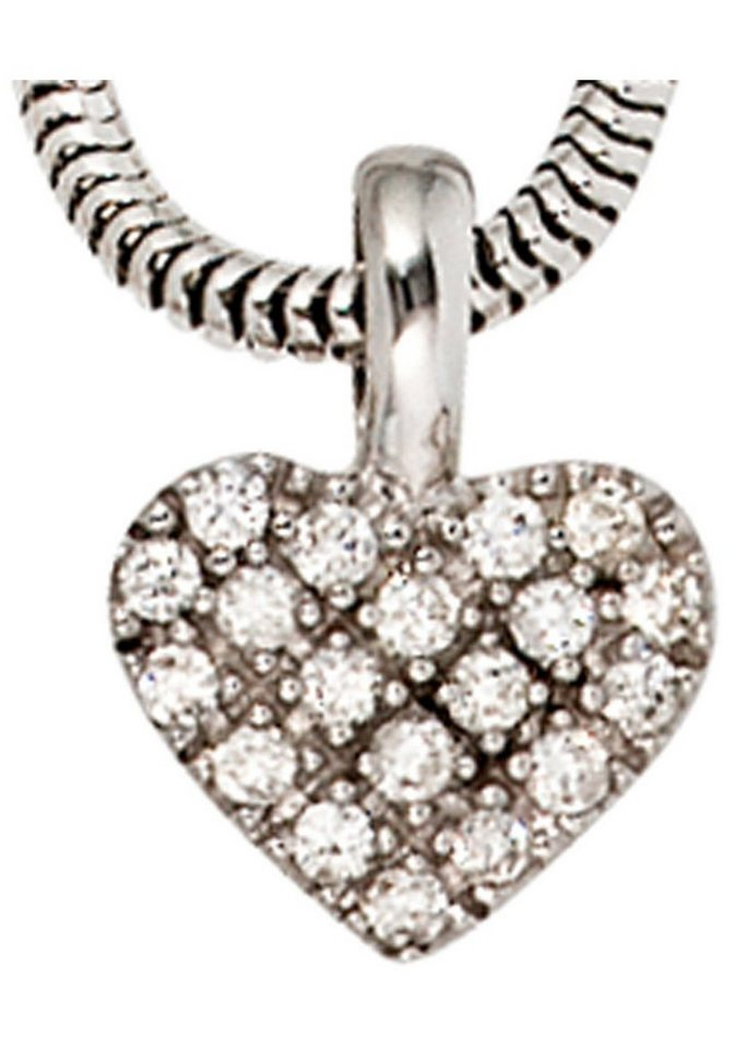 JOBO Herzanhänger »Herz« 585 Weißgold mit 19 Diamanten | Schmuck > Halsketten > Herzketten | JOBO