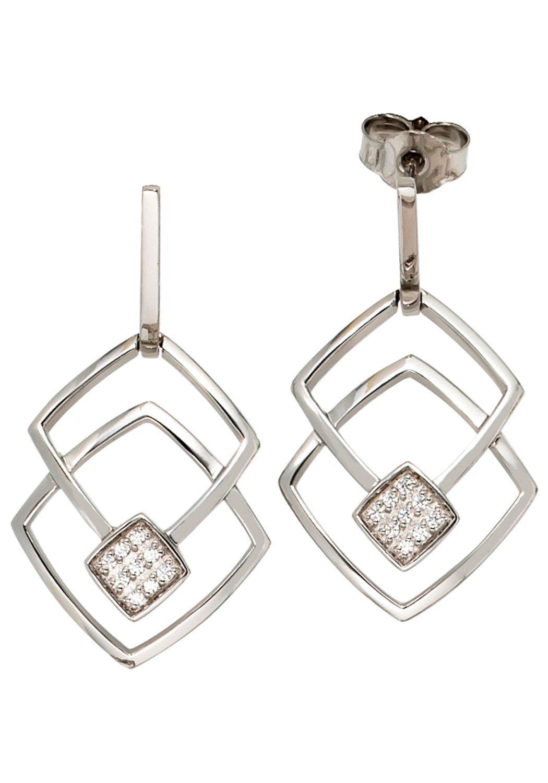 JOBO Paar Ohrhänger 585 Weißgold mit 18 Diamanten