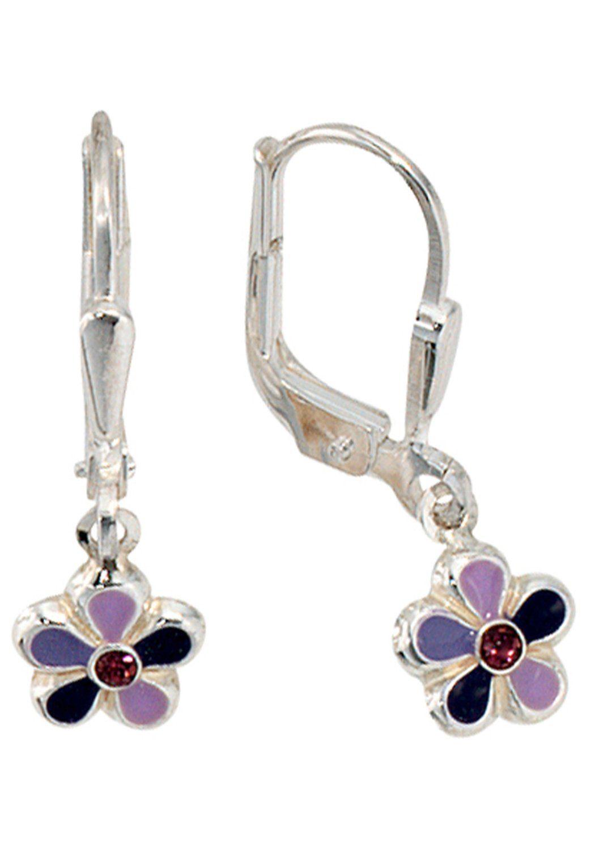 JOBO Paar Ohrhänger »Blume« e925 Silber mit Glassteinn