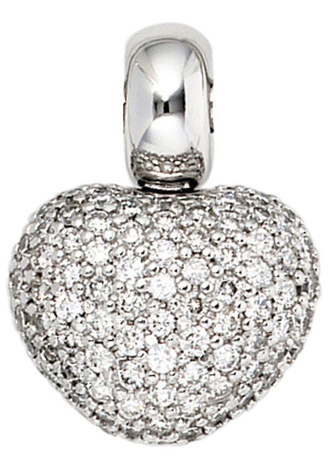 JOBO Herzanhänger »Herz« 585 Weißgold mit 107 Diamanten | Schmuck > Halsketten > Herzketten | Si | JOBO
