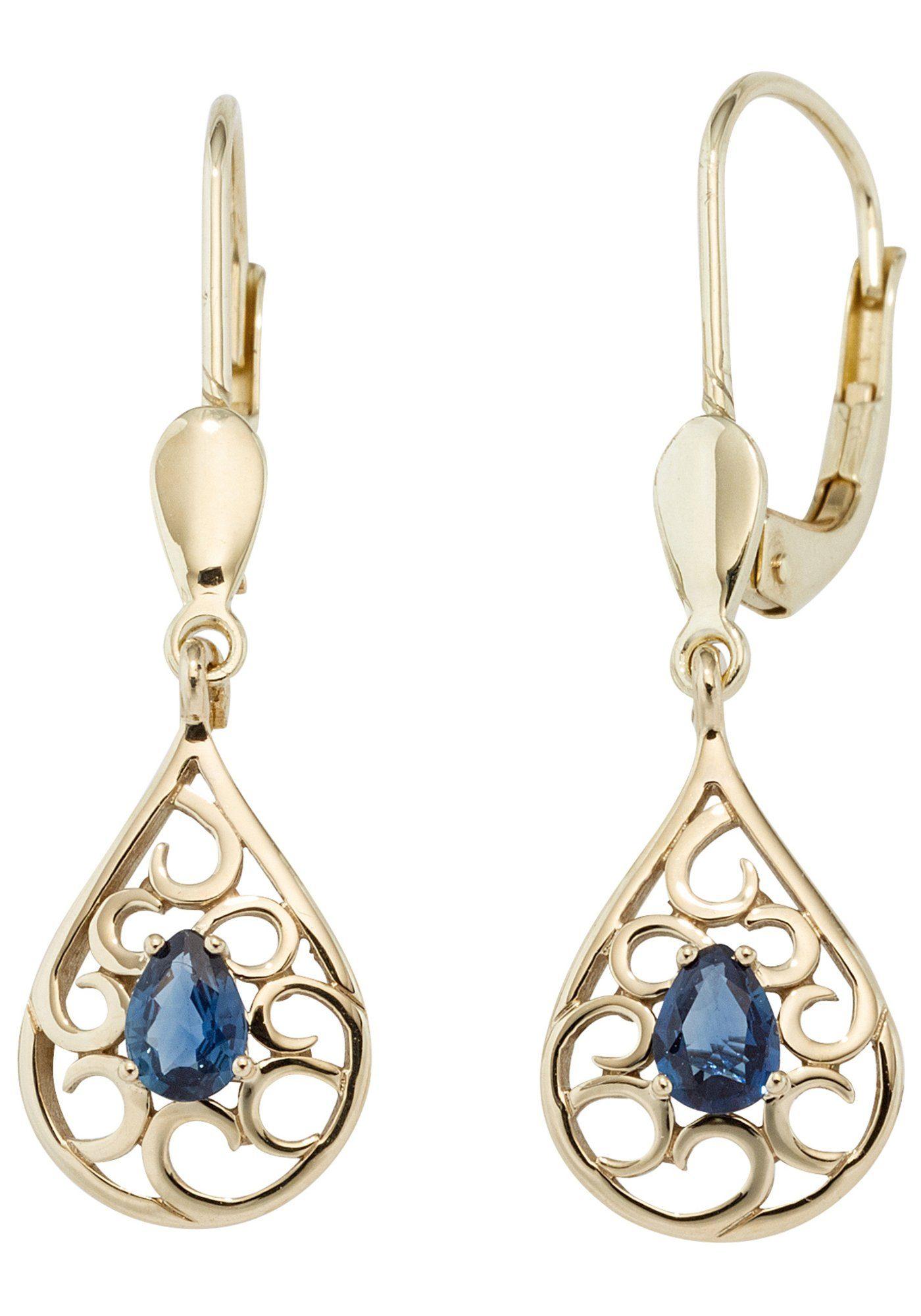 JOBO Paar Ohrhänger Tropfen 585 Gold mit Safir