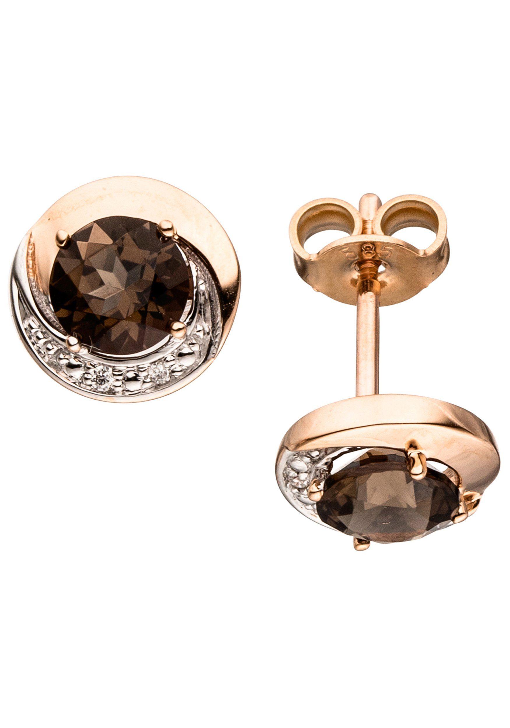 JOBO Paar Ohrstecker rund 585 Roségold mit 4 Diamanten und Rauchquarz