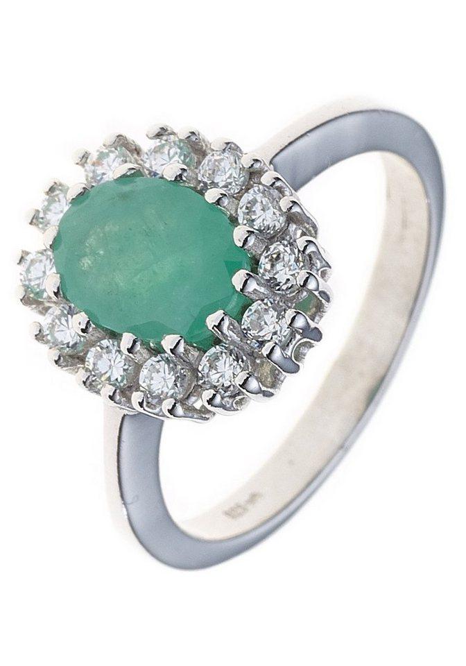 Jobo Silberring 925 Silber Mit Smaragd Und Zirkonia