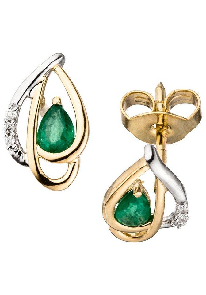 jobo paar ohrstecker 585 gold bicolor mit 6 diamanten und smaragd online kaufen otto. Black Bedroom Furniture Sets. Home Design Ideas