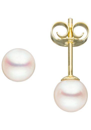 JOBO Perlenohrringe 585 Gold mit Akoya-Zuchtperlen