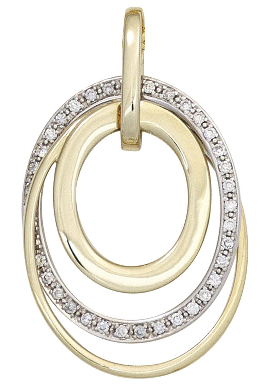 JOBO Kettenanhänger 585 Gold bicolor mit 34 Diamanten