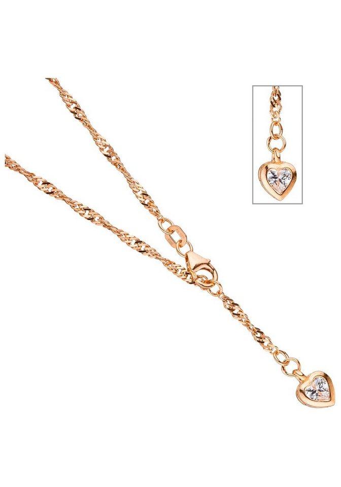 JOBO Fußkette Herz 925 Silber roségold vergoldet Zirkonia 25 cm   Schmuck > Fußschmuck   Goldfarben   JOBO