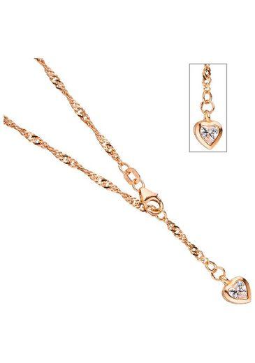 JOBO Fußkette, Herz 925 Silber roségold vergoldet Zirkonia 25 cm