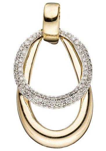 JOBO Kettenanhänger, 585 Gold bicolor mit 87 Diamanten