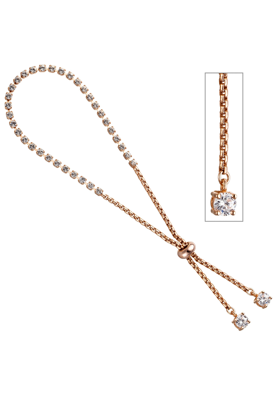 JOBO Armband Venezianerarmband 925 Silber roségold vergoldet Glassteine Zirkonia