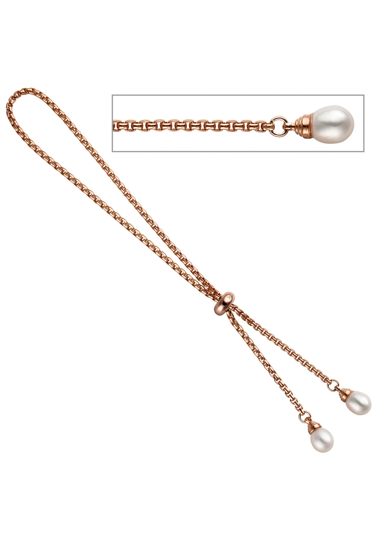 JOBO Armband Venezianerarmband 925 Silber roségold vergoldet 2 Süßwasser Perlen | Schmuck > Armbänder > Goldarmbänder | Silber | JOBO