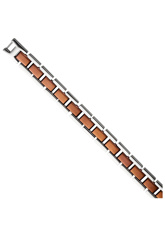 JOBO Armband Edelstahl braun plattiert bicolor 21 cm