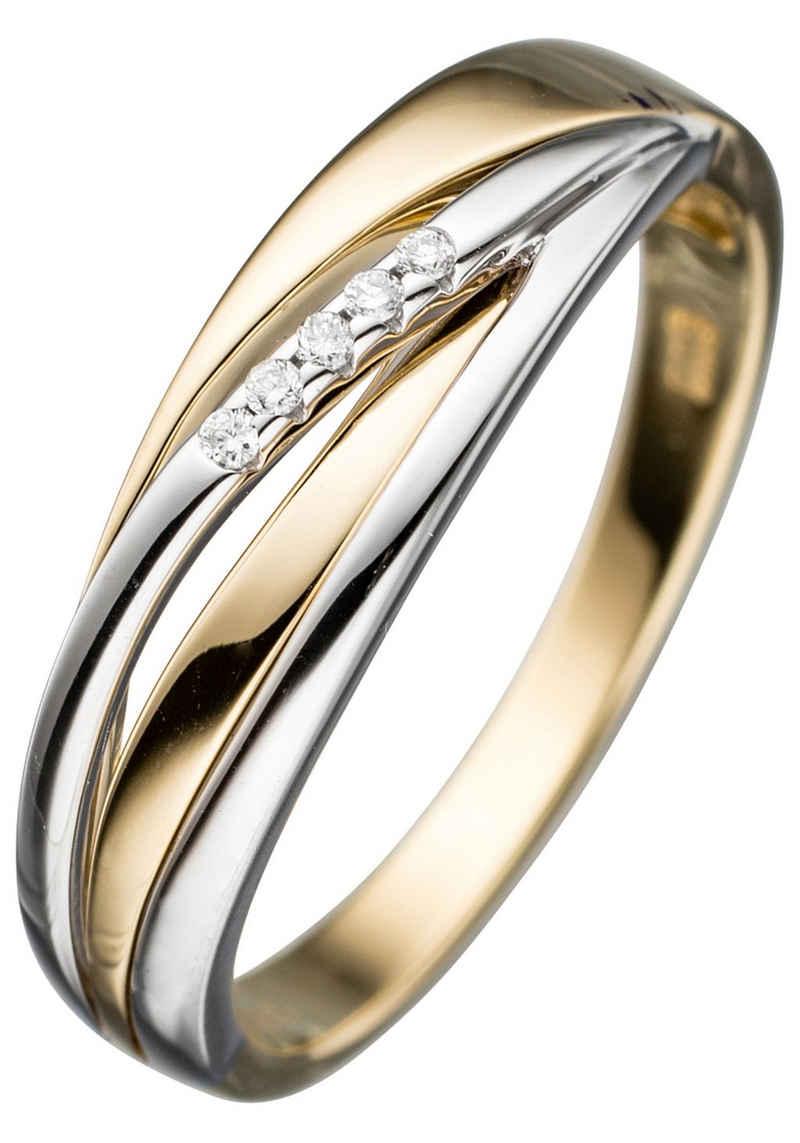 JOBO Diamantring, 585 Gold bicolor mit 5 Diamanten