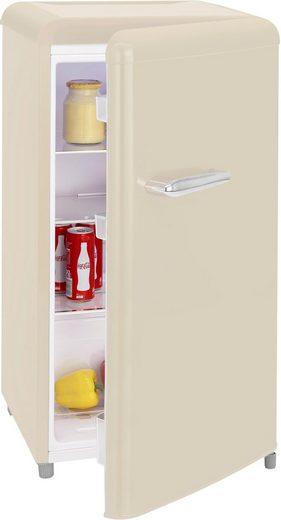 exquisit Table Top Kühlschrank RKS 100-16 RVA++ MW, 90,5 cm hoch, 48 cm breit, Retro