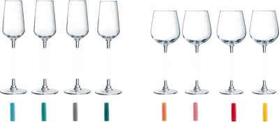 Luminarc Gläser-Set »LUMIKIT«, Glas, 8 Gläser, incl. 8 farbigen Connectoren aus Kunststoff