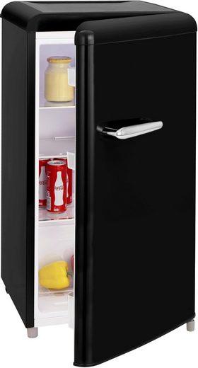 exquisit Table Top Kühlschrank RKS 100-16 RVA++MS, 90,5 cm hoch, 48 cm breit, Retro