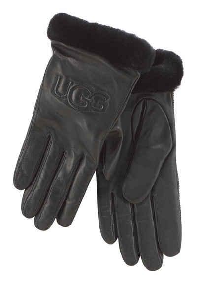 695ace654e61d1 UGG Lederhandschuhe mit Logo auf dem Handrücken