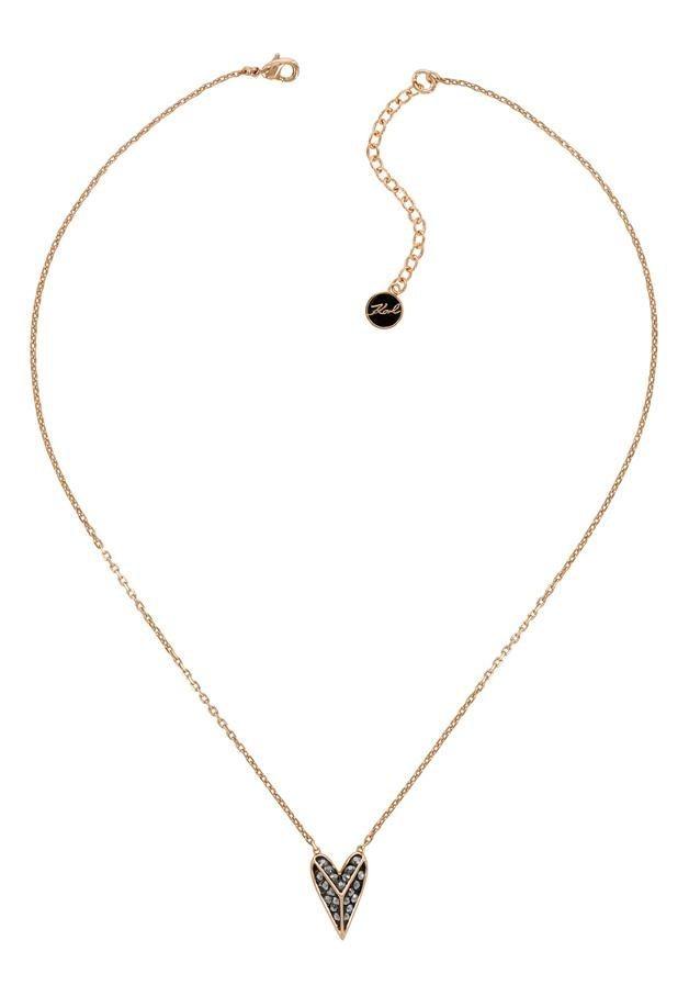KARL LAGERFELD Kette mit Anhänger »Pyramid Hearts /Herz, 5420593« mit Swarovski® Kristallen | Schmuck > Halsketten > Herzketten | KARL LAGERFELD