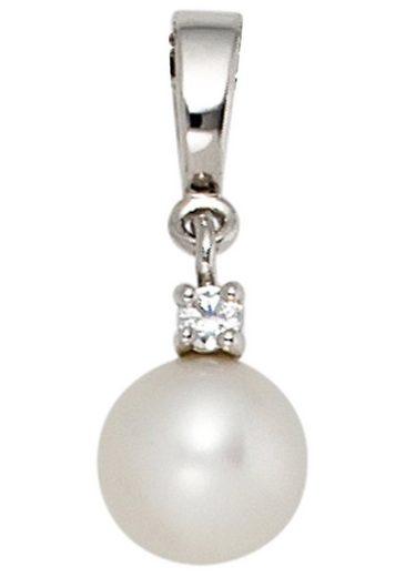JOBO Perlenanhänger, 585 Weißgold 1 Diamant und Süßwasser-Zuchtperle