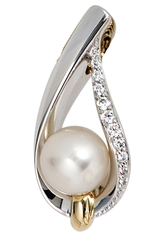 JOBO Perlenanhänger 585 Gold bicolor 10 Diamanten Süßwasser-Zuchtperle
