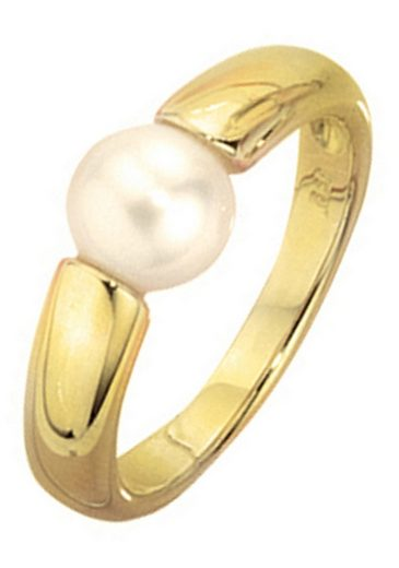 JOBO Perlenring, 333 Gold mit einer Süßwasser-Zuchtperle
