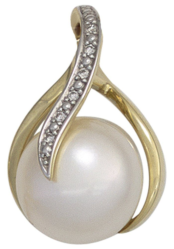 JOBO Perlenanhänger 585 Gold mit 6 Diamanten und Süßwasser-Zuchtperle