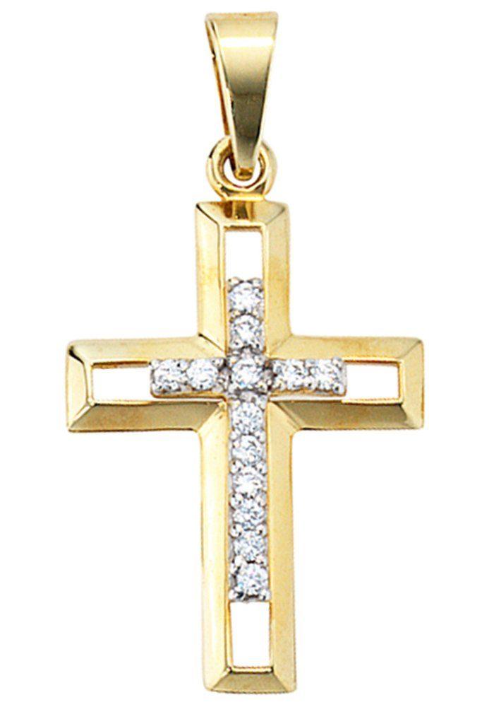 JOBO Kreuzanhänger Kreuz 333 Gold mit Zirkonia