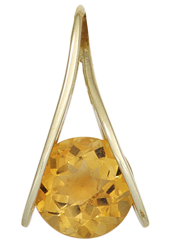 JOBO Kettenanhänger 375 Gold mit Citrin