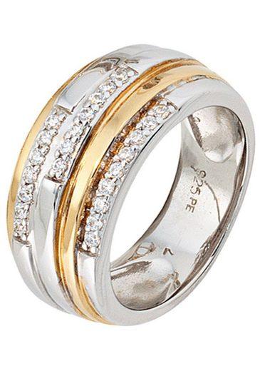 JOBO Silberring, breit 925 Silber bicolor vergoldet mit Zirkonia