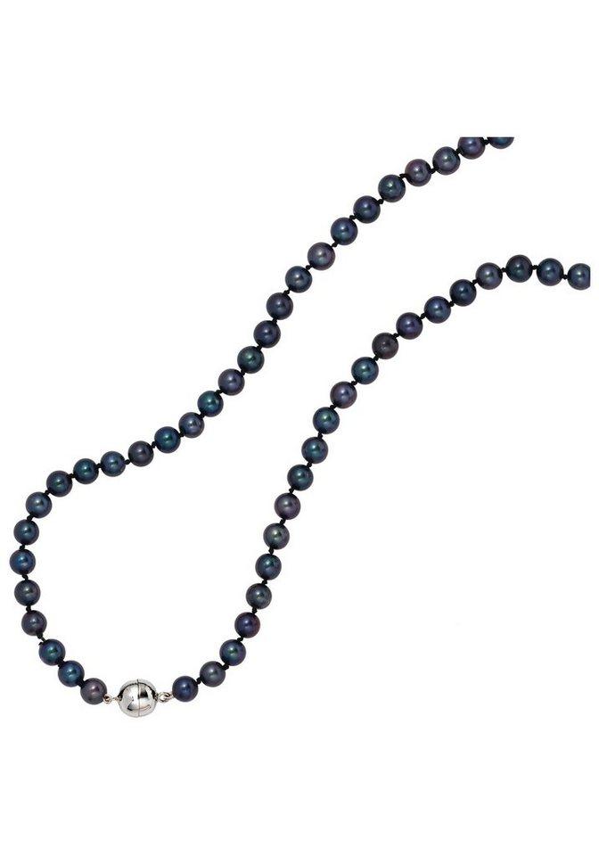 JOBO Perlenkette mit Akoya-Zuchtperlen 45 cm | Schmuck > Halsketten > Perlenketten | Blau | JOBO