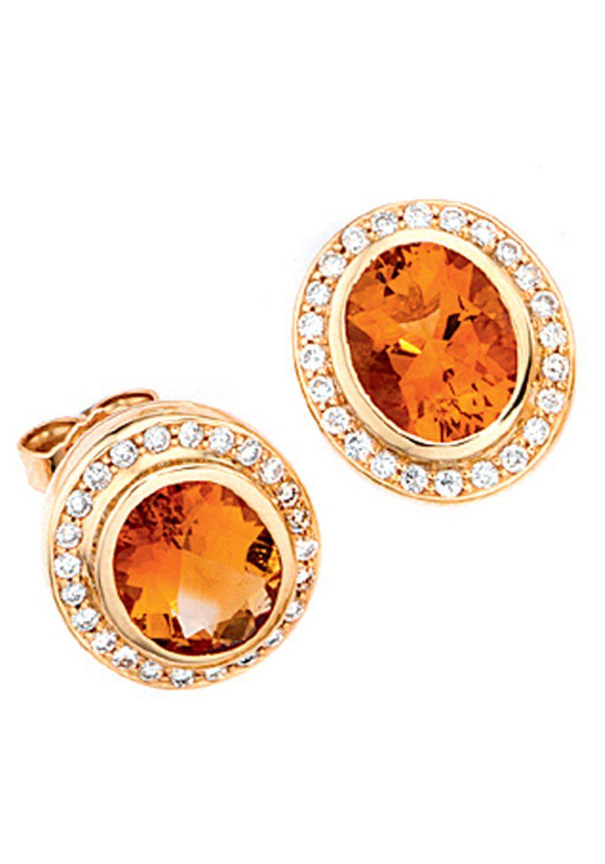 JOBO Paar Ohrstecker oval 585 Gold mit 48 Diamanten und Citrin