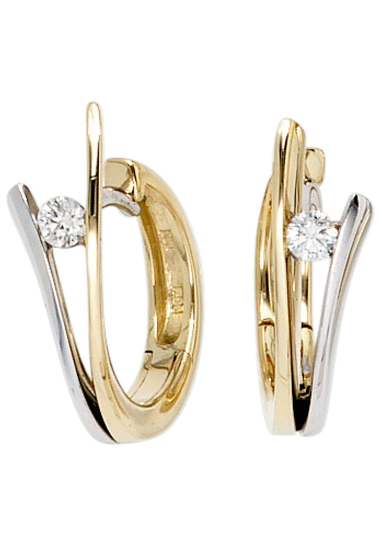 JOBO Paar Creolen 585 Gold bicolor mit 2 Diamanten