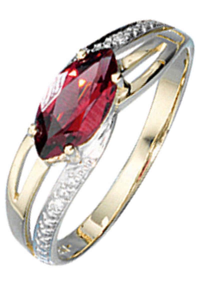 JOBO Diamantring, 585 Gold bicolor mit Granat und 2 Diamanten