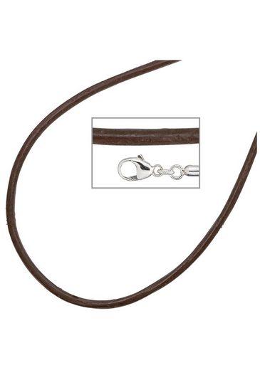 JOBO Collier Leder und 925 Silber 42 cm