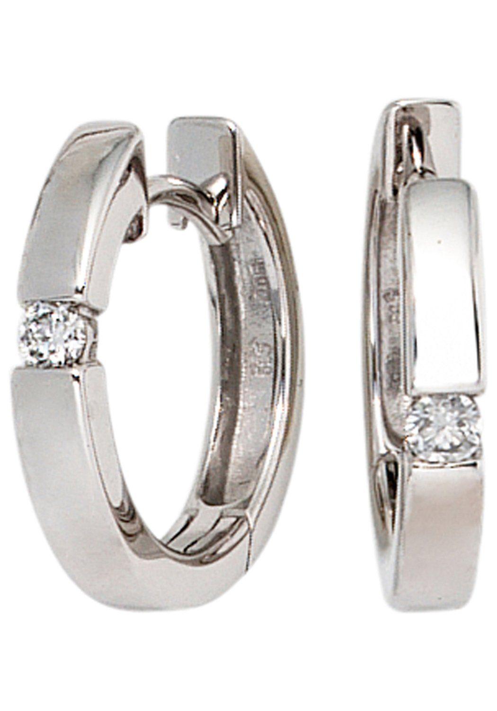 JOBO Paar Creolen rund 585 Weißgold mit 2 Diamanten