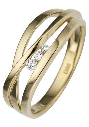 JOBO Diamantring, breit 585 Gold mit 3 Diamanten