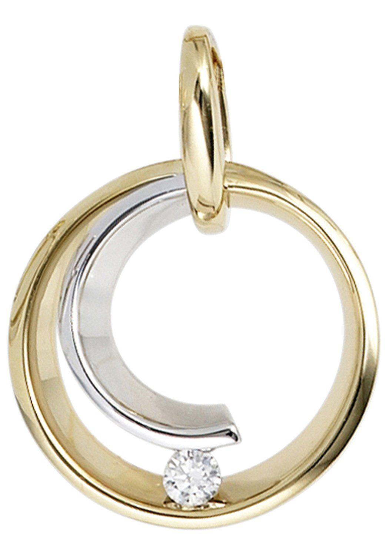 JOBO Runder Anhänger rund 585 Gold bicolor mit 1 Diamant